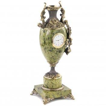 Ваза с часами виноград змеевик бронза 135х120х360 мм 4550 гр.