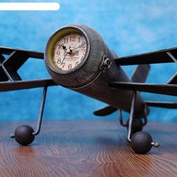 Часы настольные старый самолёт, серые, 44х41х19 см