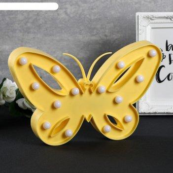 Ночник пластик от батареек 2аа бабочка микс 17х25,8х2,8 см