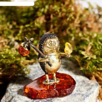 Сувенир из латуни и янтаря ежик в тумане 3,5х4,2 см