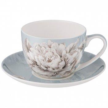 Чайная пара lefard white flower  2пр. 330мл голубая (кор=24наб.)