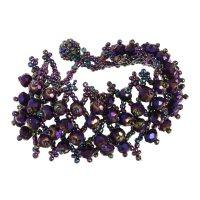 Браслет из бисера плетение бусины, цвет фиолетово-радужный
