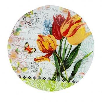 Блюдо сервировочное тюльпаны d=24см. (min6) (стекло) (транспор