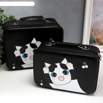 Шкатулка кожзам для косметики пятнистый кот чемодан н-р 2 шт 8,5х15,5х23,