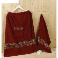 Набор для сауны мужской karna relax, цвет бордовый, махра 400 г/м2