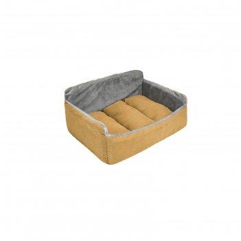 Лежак-диван бархатный самсон, 46 х 33 х 22 см, охра