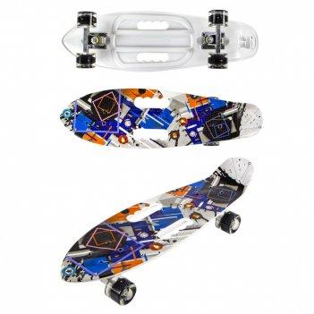 Скейт navigator пласт. кол.pu со светом 60х45мм, алюм.траки, 2 ручки для п