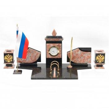 Настольный набор с гербом и флагом россии креноид