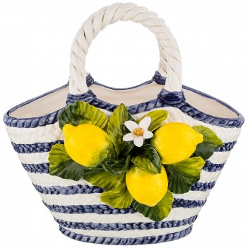 Изделие декоративное корзина с лимонами 34*20 см. высота=35 см.