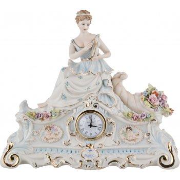 Часы настольные дама длина=39 см. высота=33,5 см. циферблат диаметр=6 см.