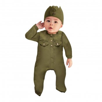 Карнавальный костюм солдатик-малышок, ползунки, пилотка, 6-9 месяцев, рост