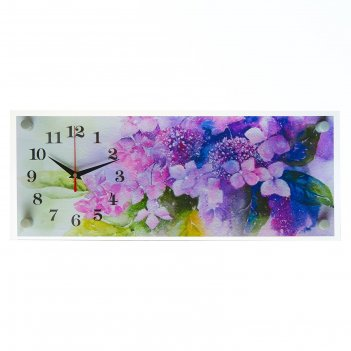 Часы настенные, серия: цветы, букет цветов, 20х50 см микс