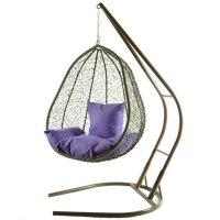 Подвесное кресло на стойке капри, коричневое/фиолетовая