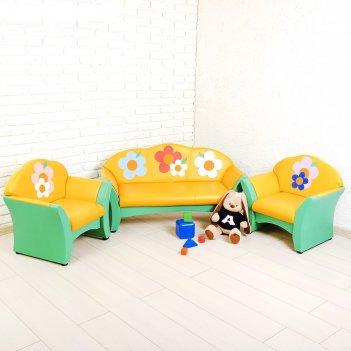 Комплект мягкой мебели карина, зелёно-жёлтый, с цветами