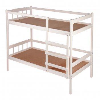Кровать детская двухъярусная из массива, цвет белый, спальное место 160х70