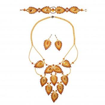 Комплект из янтаря и бисера: колье, браслет, серьги