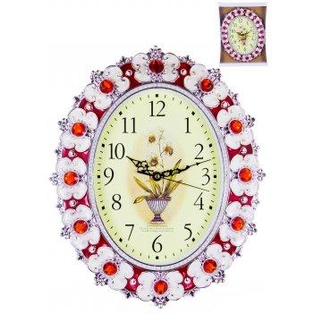 Часы настенные овальные home art «красный барокко» 35,5x29,5 см