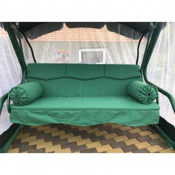 Матрас для садовых качелей волна + валики 175, цвет зеленый