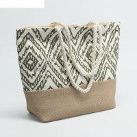 Сумка текстильная орнамент, 31*13*36, отд на молнии, зелёный