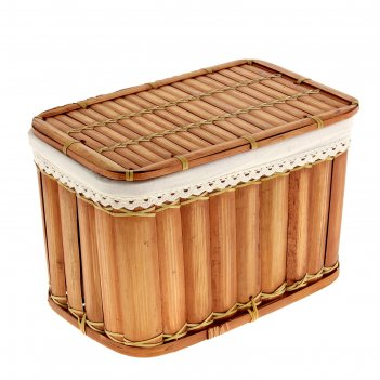Корзина с крышкой пикник из бамбука