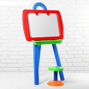 Доска для рисования двусторонняя, в комплекте мольберт, стульчик, маркер,