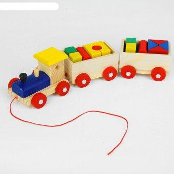 Деревянная игрушка паровозик с фигурами, микс