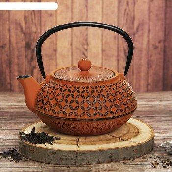 Чайник с ситом 1 л лайан, цвет оранжевый