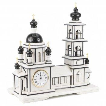 Часы храм с колокольней мрамор змеевик 510х245х540 мм 13000 гр.