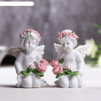 Фигурка полистоун ангел с бутонами роз микс 5,8х3,3х3,7 см