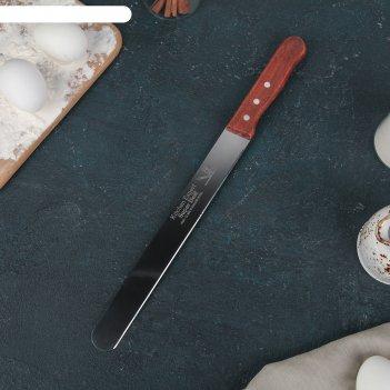 Нож для бисквита, ровный край, ручка дерево, рабочая поверхность 25 см (10