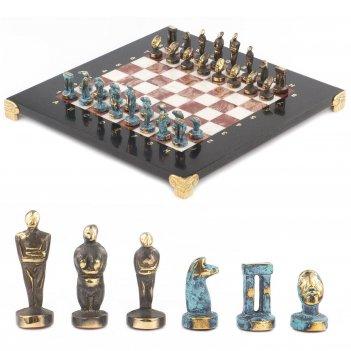 Шахматы идолы доска 280х280 мм мрамор лемезит металл