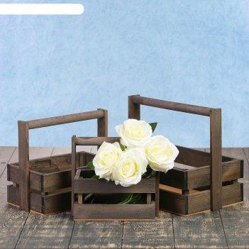 Набор кашпо деревянных подарочных модерн, 3 в 1, с ручкой, серый тёмный