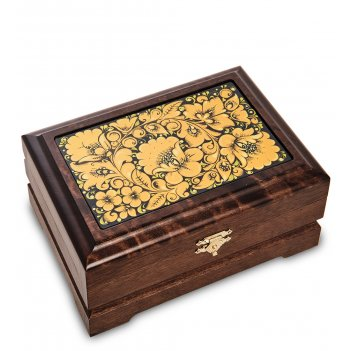 Kh-15/1 шкатулка деревянная комби 170х120 с хохломской росписью