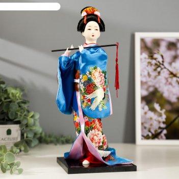 Кукла коллекционная японка в шелковом голубом кимоно с флейтой 30х12,5х12,