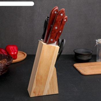 Набор 7 предметов на подставке:5 ножей:19/23/31/21/31, ножницы 21, мусат