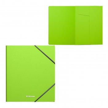 Папка на резинках а5+ пластиковая erichkrause neon зеленая 47426