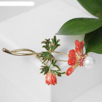 Брошь цветок жемчужная сердцевина, цвет бело-розовый в золоте