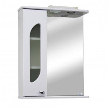 Шкаф-зеркало дора 60 левое, с подсветкой цвет: белый глянец