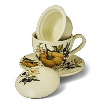 Набор чашка с блюдцем caroline artigianato ceramico тыква