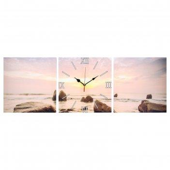 Часы настенные, серия: море, модульные закат на море, 35х110  см, микс