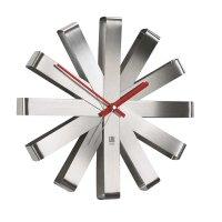 Часы настенные ribbon , материал: нержавеющая сталь, размер: 30 x 10 x 6 с