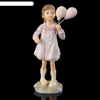 Сувенир полистоун детство малышка агата в розовом сарафанчике с шариками 1