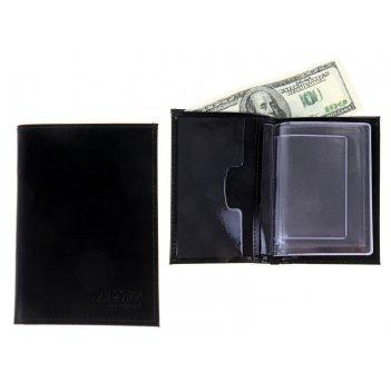 Обложка из натуральной кожи на автодокументы с бумажником, гладкая, цвет ч