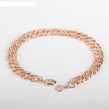 Браслет металл цепь узкая с рисунком, цвет золото, ширина 6 мм, l=20 см