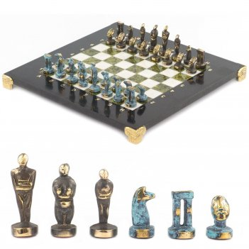 Шахматы идолы доска 280х280 мм мрамор змеевик металл