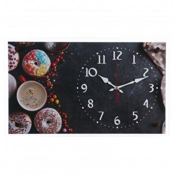 Часы настенные, серия: кухня, пончики, 36х60 см