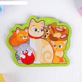 Головоломка пазл кошка с котятами