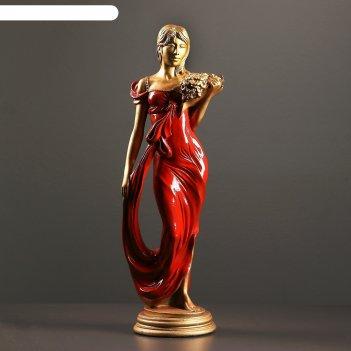 Фигура девушка с букетом бронза/красный 20х15х56см