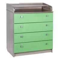 Пеленальный комод котёнок, 4 выдвижных ящика, цвет ясень шимо светлый зелё