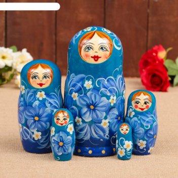 Матрёшка «цветок», синее платье, 5 кукольная, 17 см